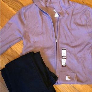NWT carhartt 3/4 sleeve zip up